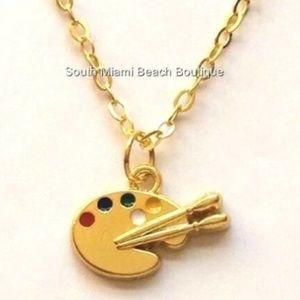 Gold Artists Palette Necklace Artist Art Teacher